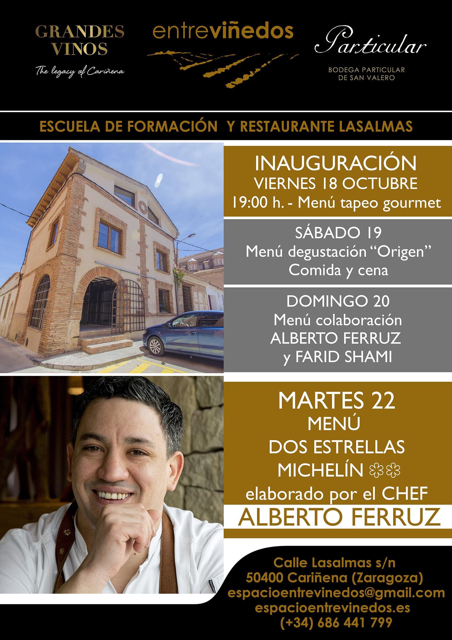 En este momento estás viendo El espacio gastronómico EntreViñedos abre sus puertas de la mano del chef Alberto Ferruz.